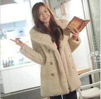 Fur coat overcoat women's suit collar double breasted overcoat