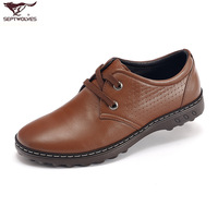Septwolves men's cowhide casual shoes genuine leather business casual leather shoes male shoes