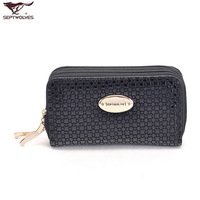 Septwolves female genuine leather key wallet cowhide Women coin purse black women's handbag multifunctional