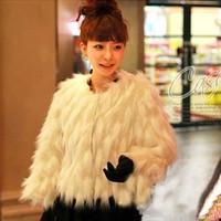 2013 faux long-sleeve outerwear female faux short design