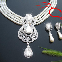 Cii diamond luxury retro princess imitation pearls two-piece bridal sets of chain imitation pearl necklace earrings set