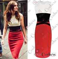 NEW Style Womens Celebrity Midi Bodycon Ladies Red Pencil Evening Slimming Panel Tea Dress