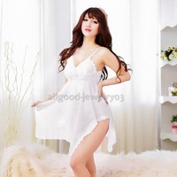 E#A1 Women Transparent Sexy Lingerie Sexy Underwear Braces Skirt G-String White