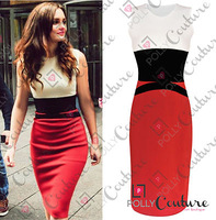 Womens Celebrity Midi Bodycon Ladies Red Pencil Evening Slimming Panel Tea Dress