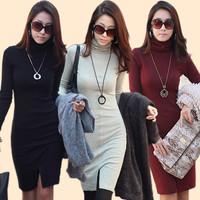 2013 new women's turtleneck long-sleeve basic skirt women skirt winter one-piece dress autumn and winter
