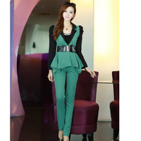 2013 autumn casual set puff sleeve long-sleeve top ruffle slim trousers send strap
