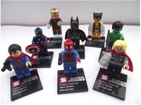 Super Heroes 8pcs/lot The Avengers Iron Man,Hulk,Batman,Wolverine,Thor,Superman,Captain America,Spider-Man Building Blocks Toys