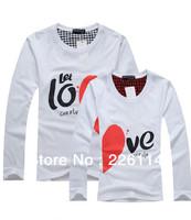Free shipping 2013 New Korean couples dress summer T-shirt men & women heart LOVE printing couple of lovers t-shirt,white&black