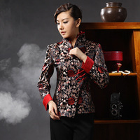 Magnificently women's spring and autumn double layer collar slanting lapel woven damask elegant long-sleeve tang suit version