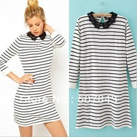 New Fashion Ladies' Lace collar striped pullover knitwear stylish Casual Slim Sweatshirts long knitted sweater Tops