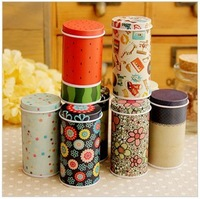 HOT! 20pcs/lot Free Shipping Cute little iron box cylindrical portable storage box tall canister round mini tin box