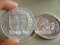 DHL FREE SHIPPING 500PCS/LOT 1OZ FINE SILVER PLATED WHITE COLOR CROSS ROUND COINS CRUSADE MASONIC KNIGHTS TEMPLAR SILVER COINS