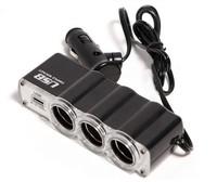 2Pcs/Lot USB+3 way Auto Car Cigarette Lighter Socket Splitter Plug Charger 12V Adapter Car Accessory