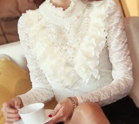 2013 Autumn Elegant Ladies Turtleneck Lace Long-Sleeve Basic Shirt Women's Slim Beading Pearl Lace Blouse Chiffon Ruffles Tops