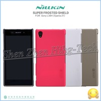 HK Post Freeship Original Nillkin Frosted Shield Back Cover Case For Xperia Z1 Sony L39h Case With Screen Protector Retail Box