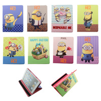 Newest Character Smart Leather Case for ipad Precious Despicable Me Milk Dad Stand Leather Case Cover for ipad 2 3 4 / ipad mini