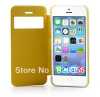 DHL Free  Shipping Newest Luxury  yellow   Slim windows Leather  Flip  cases  for iPhone 5C  100pcs/lot