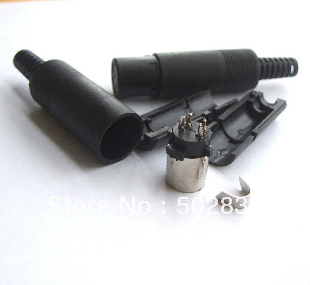 50pcs/lot 4 Pin Mini DIN Female Connector w/ Plastic Handle Soldering DIY(China (Mainland))