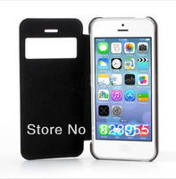DHL Free  Shipping Newest  Elegant Black  Slim windows Leather  Flip  cases  for iPhone 5C  100pcs/lot