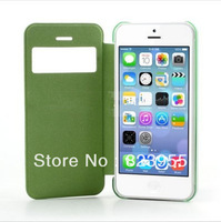 DHL Free  Shipping Newest  Elegant  Light  Green  Slim windows Leather  Flip  cases  for iPhone 5C  100pcs/lot