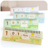 Wood high quality korea stationery diy calendar desktop calendar this calendar book