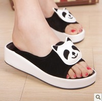 Hot-selling ! summer slip-resistant platform slippers panda head beach drag flat heel women slippers