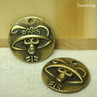 Jewelry Accessories Antique Bronze Zinc Alloy Skeleton Pirates Charm Pendant Findings Fit Bracelet Necklace 20MM 50pcs/lot