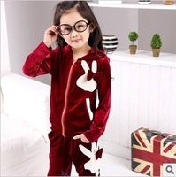 Children's clothing child sports casual set child girl female child velvet set autumn