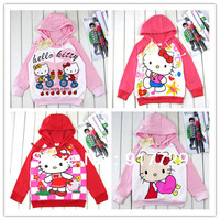 Wholesale 1 lot = 4 pics 2013 children's cartoon hoodies girls supernova sale autumn-summer coat jacket hello kitty KT brand