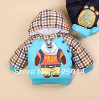 two-piece 2013 new winter fashion classic plaid boy cartoon bear infested thicker jacket suit