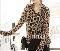 happy SZ The new fashion women's clothing haggard leopard long-sleeved chiffon blouse FCS0017