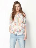 2013 fashion  women  full sleeve  floral chiffon  blouses  free shpping