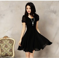 Sweet lace patchwork chiffon one-piece dress 2013 slim one-piece dress a