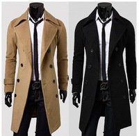 2013 New Mens Coats Jacket Double Button Trench Coat Wool & Blends Size M-XXXL 3 Colors Drop shipping