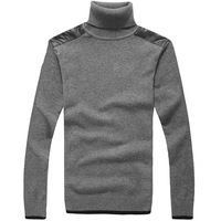 2013 autumn and winter bluestocking male casual pullover 100% cotton knitted sweater 100% cotton sweater male high round collar