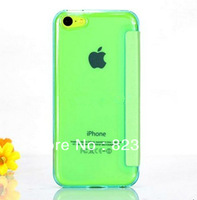 DHL  Free Shipping  Multi-colors   Slim  windows Leather  Flip  cases with transparent back  for iPhone 5C  100pcs/lot