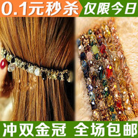 S1128 hair accessory hair accessory irregular crystal gold color block ccbt side-knotted clip hair pin small accessories