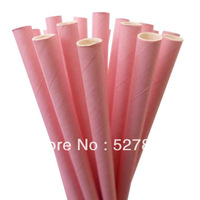 Free Shipping 100pcs Biodegradable paper drinking straws Solid pink ,Wedding,Birthday Decorate ,Event & Party Supplies