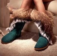 Womens Fox Rabbit Fur Genuine Cowhide Nubuck High Snow Boots Shoes 5 Colors Free Shipping