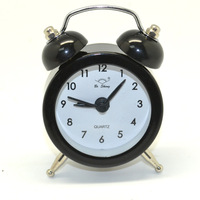2013 New Design Hot Sale Alarm Clock Twin Double Bell Desk / Table Mini Alarm Clock candy color black