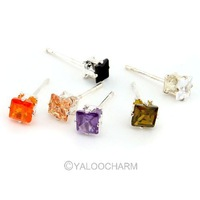12 Pairs Lady's Square Colourful  Shape Charm Zirconia Earrings Studs Puncture Jewellery Party Beauty 261923