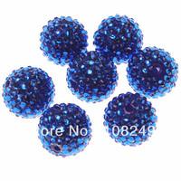 New bright royal blue jewelry resin rhinestone ball beads.Free ship 100pcs chunky round 22mm jewelry rhinestone jewelry beads.
