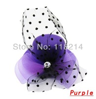 Free Shipping Fashion Lovely Formal Hat Hair Pins Mesh Dot Crystal Bowknot Design Hair Accessories DHJ071