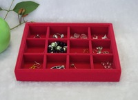 Free shipping 12 Grids Jewelry Organizer Tray Red Rose Velvet Jewelry Box Wholesale
