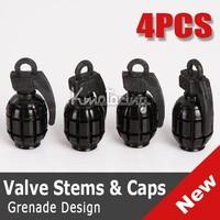 Wholesale 4pcs/set  Black Grenade Bike Car Motors Motorcycle Tire Air Valve Dust Cap Cover FREE SHIPPING Tyre Valve caps