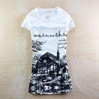 2013 womens t shirt  cartoon o-neck forest log cabin slim short-sleeve T-shirt 2155