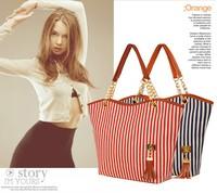 2014 new fashion Woman handbag fashion vintage fashion stripe big bag tassel bag shoulder bag chain women's handbag