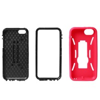 Dual Robot Rubberized Protective Hard Case with Stand for iPhone 5C +Protective film