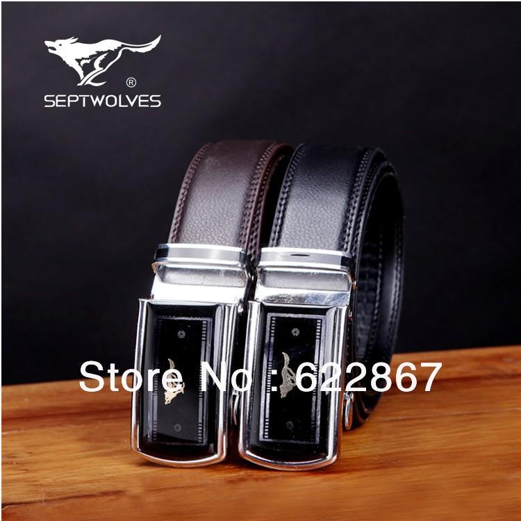 Free Shipping 2013 Wholesaler Men's Fashion Business Leather Belt Buckles Metal Vintage Casual Belts Septwolves Brand For Men(China (Mainland))