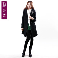 Rgxzr 2013 sheep trophonema stripe slim wool coat outerwear female high waist with a hood medium-long trench